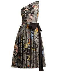 Prada - Comic-print One-shoulder Cotton Dress - Lyst