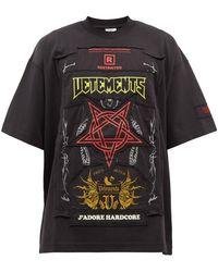 Vetements ハードコア ロゴパッチ コットンtシャツ - ブラック