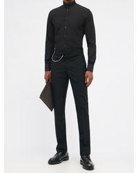 Dolce & Gabbana スタンドカラー コットンポプリンシャツ - ブラック