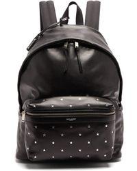 Saint Laurent City Star Stamped Leather Backpack - Black