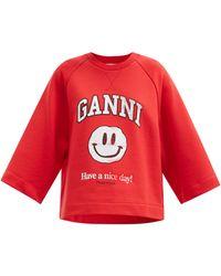 Ganni - スマイリー コットンブレンドスウェットシャツ - Lyst