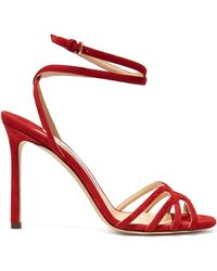 Jimmy Choo Mimi 100 Wrap-around Suede Sandals - Red