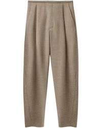 Totême Pleated Wool-blend Flannel Trousers - Natural