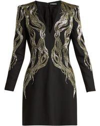Alexander McQueen - Bead-embroidered Wool-blend Mini Dress - Lyst