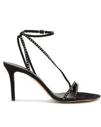 Isabel Marant Axee Crystal-embellished Suede Sandals - Black