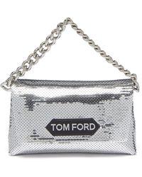 Tom Ford スパンコール サテンクラッチバッグ - メタリック