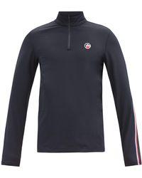 Fusalp Logo-patch Zip-neck Jersey Sweatshirt - Blue
