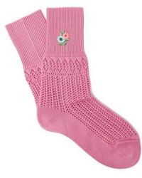 Gucci - Floral-embroidered Pointelle Knit Ankle Socks - Lyst