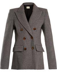 Khaite Darla Peak-lapel Double-breasted Wool Jacket - Grey