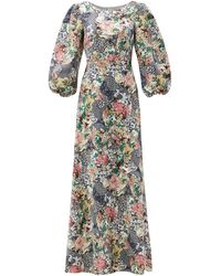 Saloni Lily Floral Ceramic-print Balloon-sleeve Silk Gown - Multicolor