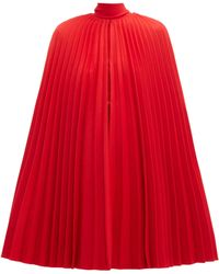 Valentino Pleated Virgin Wool Cape - Red