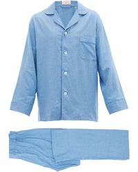 Emma Willis Piped Cotton Pajamas - Blue