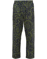 Desmond & Dempsey Zocolo Floral-print Cotton Pyjama Pants - Green