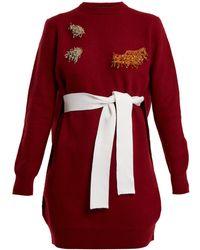 Toga - Round-neck Bead-embellished Wool-blend Dress - Lyst