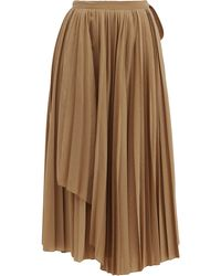 Sara Lanzi ウールブレンド プリーツラップスカート - ブラウン