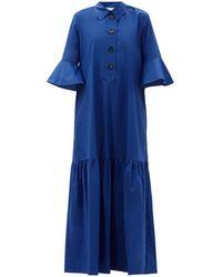 La DoubleJ アルテミス コットンマキシシャツドレス - ブルー