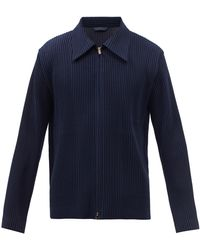 Homme Plissé Issey Miyake Zipped Technical-pleated Shirt - Blue
