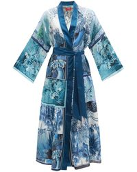 F.R.S For Restless Sleepers Io Patchwork-print Silk-twill Robe - Blue