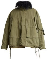 Army by Yves Salomon Shearling-trimmed Patchwork Cotton Jacket - Green