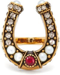 Alexander McQueen - Faux Pearl And Crystal Embellished Horseshoe Ring - Lyst