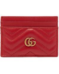 Gucci Porte-cartes en cuir GG Marmont - Rouge