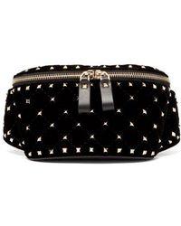 Valentino - - Rockstud Spike Quilted Velvet And Leather Belt Bag - Womens - Black - Lyst