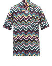 Missoni ジグザグ キャンプカラーシャツ - ブルー