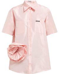 073b7ef3dcc Miu Miu - Rosette Silk Taffeta Shirt - Lyst