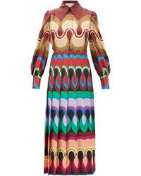 Gucci Pleated Wave-print Silk-satin Dress - Multicolour