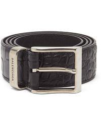 Balenciaga クロコダイルエンボス レザーベルト - ブラック