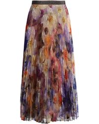 Christopher Kane | Pansy Embroidered Pleated Tulle Midi Skirt | Lyst