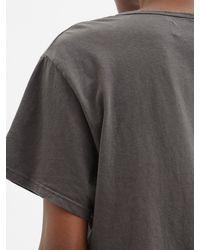 Les Tien スクープネック コットンtシャツ - グレー