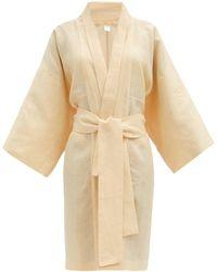 Rossell England Wide-sleeve Linen-poplin Robe - Yellow