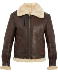 Schott Nyc Military B 3 Shearling Lined Leather Jacket - Brown