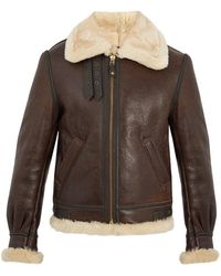 Schott Nyc Military B-3 Shearling-lined Leather Jacket - Brown