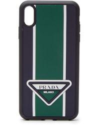 Prada Logo Stripe Iphone® Xs Max Rubber Phone Case - Green