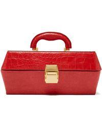 STAUD Lincoln Crocodile-effect Leather Box Bag - Red