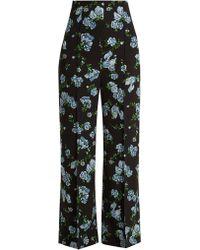 Emilia Wickstead - Hullinie Floral-print High-rise Crepe Trousers - Lyst