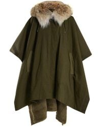 Army by Yves Salomon - Fur-lined Hooded Cotton-canvas Cape - Lyst