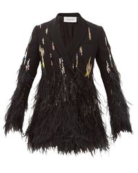 Valentino Double-breasted Feather-trimmed Crepe Jacket - Black