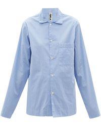 Tekla Chemise de pyjama rayée en popeline de coton - Bleu