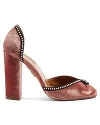 Aquazzura - Lou Lou Embellished Block-heel Pumps - Lyst