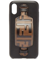 Fendi Ff Logo Leather Iphone® X Case - Black