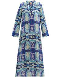 Le Sirenuse Giada Printed Cotton Muslin Kaftan - Blue