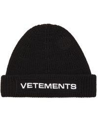 Vetements ロゴ ウールビーニー - ブラック