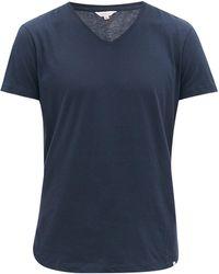 Orlebar Brown Vネック コットンtシャツ - ブルー