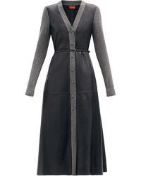 Altuzarra アリソン ウールトリム レザーシャツドレス - ブラック