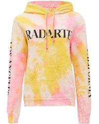 Rodarte Logo-print Tie-dye Cotton-blend Hooded Sweatshirt - Multicolor