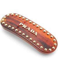 Prada Lettering Logo Studded Hair Clip - Brown