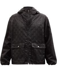 Gucci Veste à capuche en toile et jacquard GG - Noir